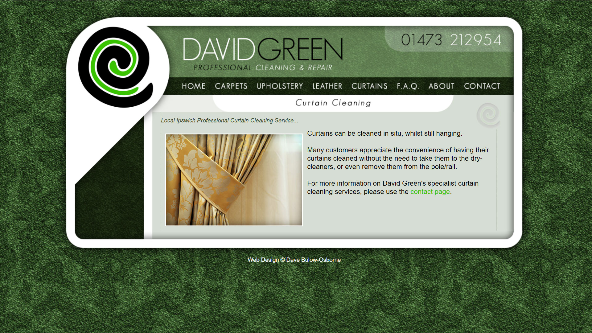 Screenshot of David Green Carpet Cleaning website design by PixelDuck