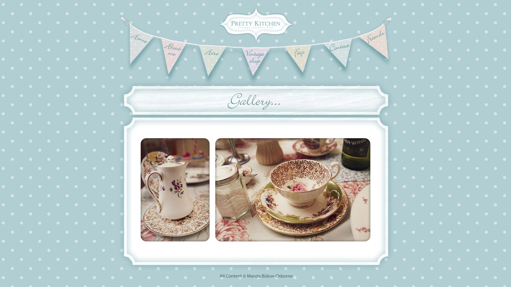 Pretty Kitchen Vintage Crockery Hire - Website Designs Portfolio ...